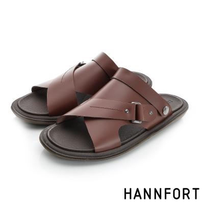 HANNFORT COZY真皮可拆式氣墊涼拖鞋-男-愜意咖8H