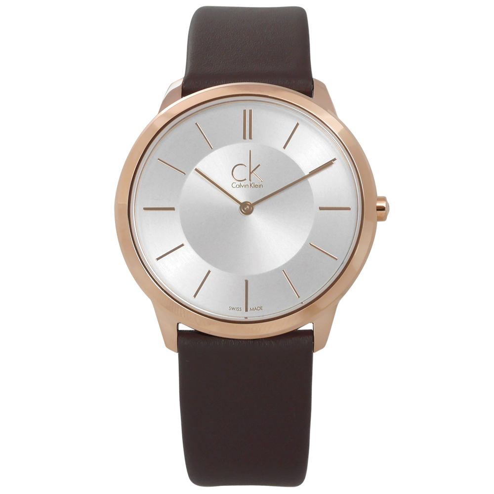 CK時尚曼哈頓簡約風皮革腕錶-銀x玫瑰金框x深褐39mm