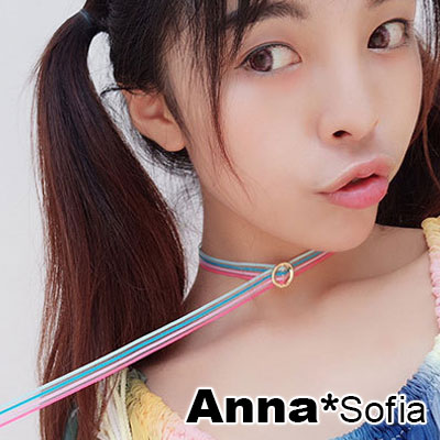 【2件399】AnnaSofia 金圓釦透彩條紋帶 鎖骨單層頸鍊CHOKER