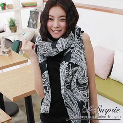 A-Surpriz 幾何大變形蟲巴黎紗圍巾(黑)