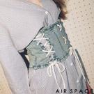 AIR SPACE 交叉綁帶牛仔腰封外搭上衣(藍)
