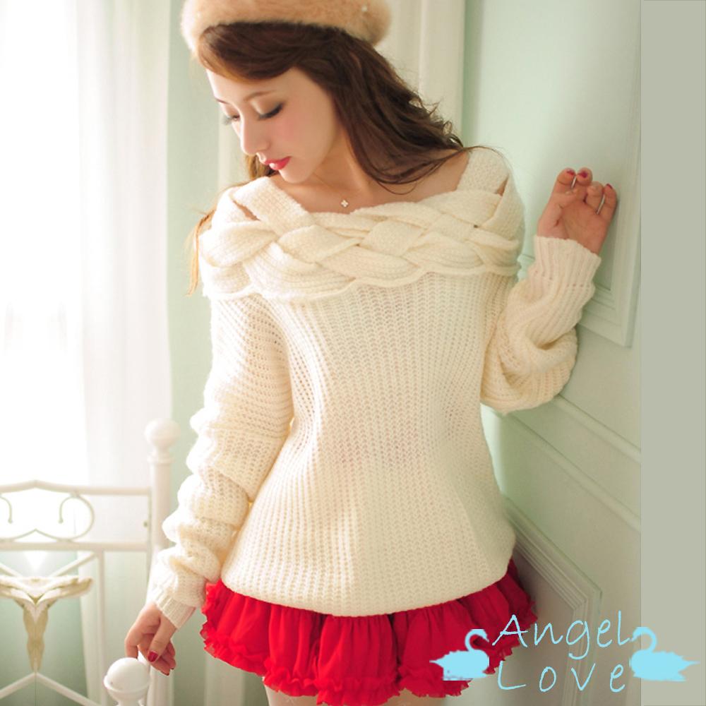【Angel Love】麻花編織清新一字領毛衣 (白色)
