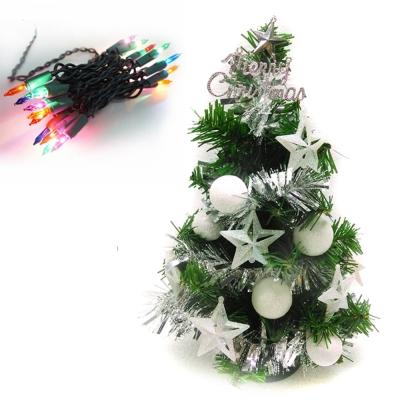 台製1尺(30cm)裝飾聖誕樹(冰雪白系)+20燈鎢絲樹燈串