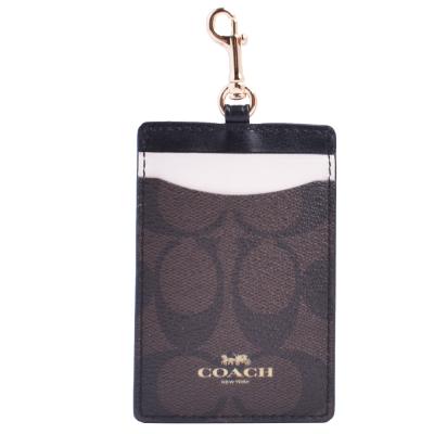 COACH-燙金Logo撞色證件票卡夾-深棕-黑