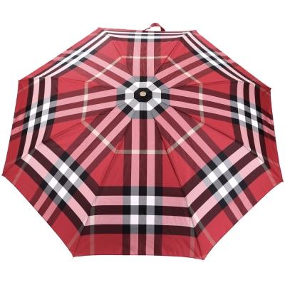 BURBERRY 經典格紋摺疊傘(紅色)