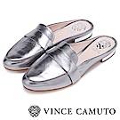 Vince Camuto 前衛金屬時髦低跟穆勒鞋-銀色