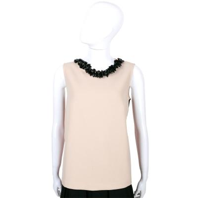 CLASS roberto cavalli 膚x粉色串珠領飾無袖上衣
