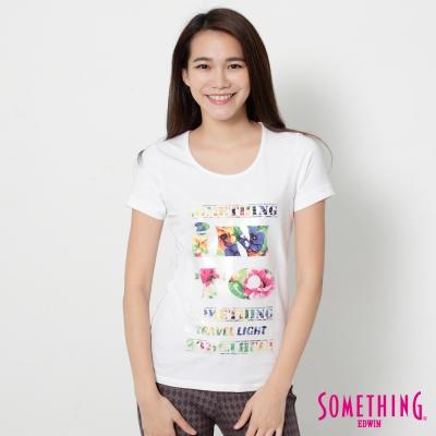 SOMETHING 花卉文字合身短袖T恤-女-白色