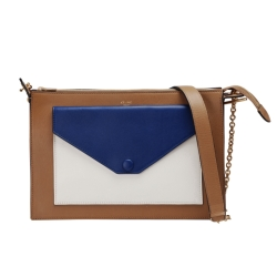 CELINE 專櫃新款Pocket撞色小牛皮金鍊肩背/斜背包(棕X藍X米色)