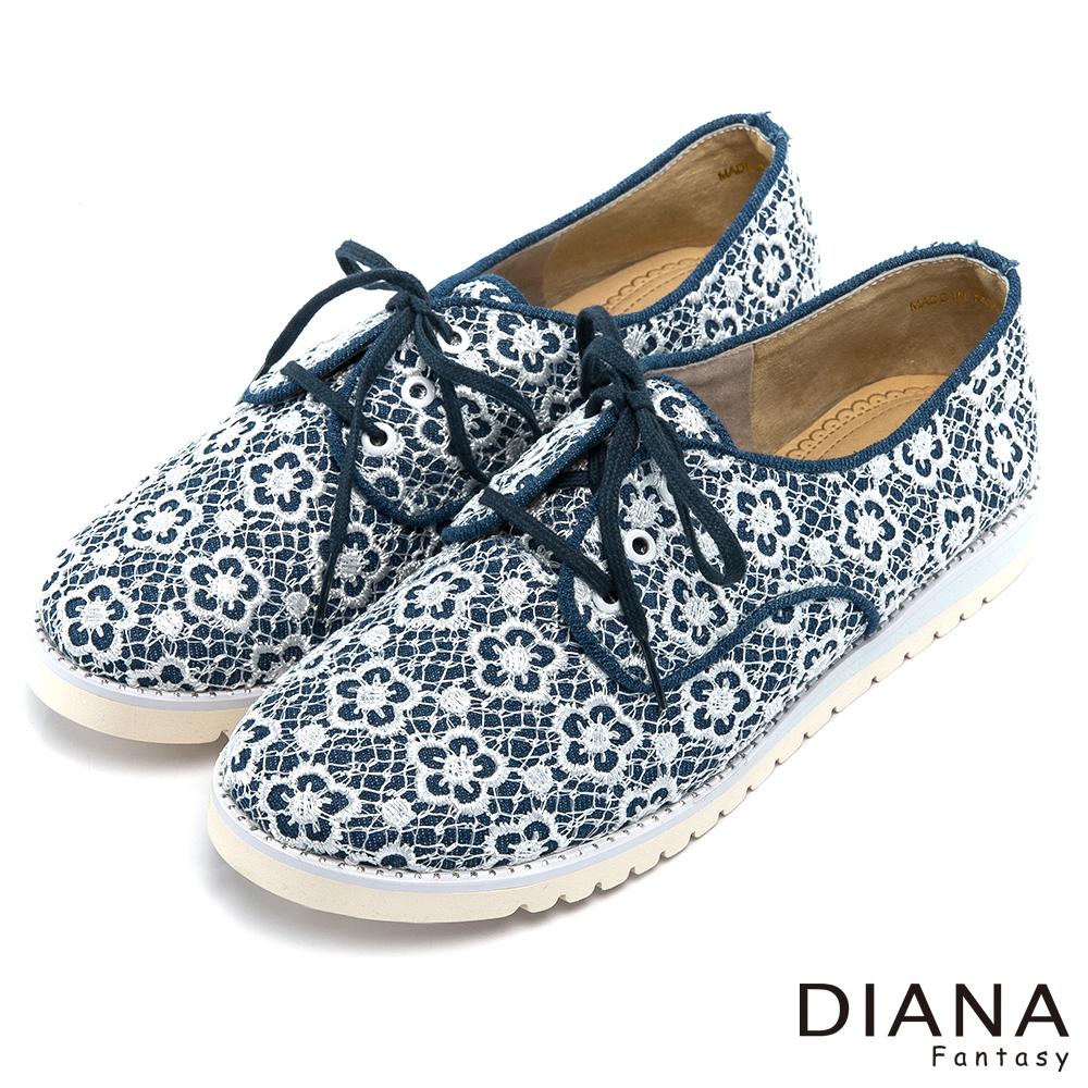 DIANA 浪漫面紗--夢幻雙層蕾絲綁帶休閒平底鞋-白