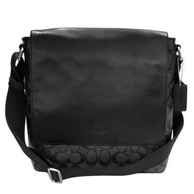 COACH黑色全皮翻蓋拼接C Logo方型斜背男包