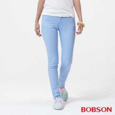 BOBSON 女款低腰膠原蛋白.彩色小直筒褲-天空藍