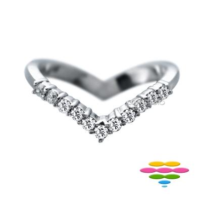彩糖鑽工坊 鑽石戒指 V形排戒 Elegance 系列