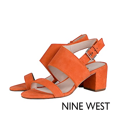 NINE WEST-一字繫帶粗高跟涼鞋-亮眼橘