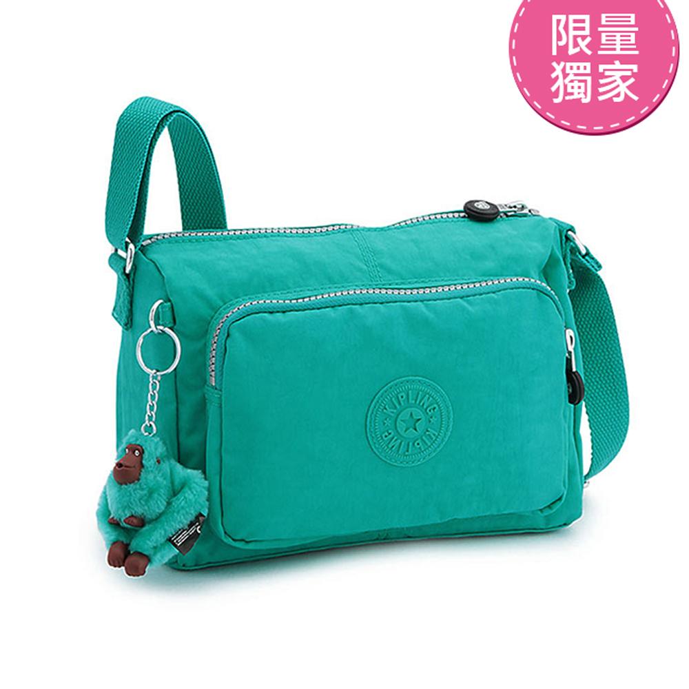 Kipling 斜背包 春漾亮彩藍綠素面