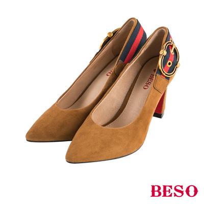 BESO雙色風尚 經典飾釦全真皮粗跟鞋~茶