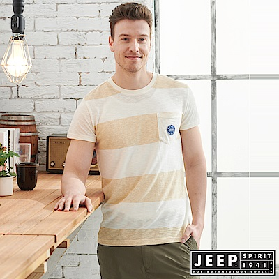 JEEP 輕透條紋短袖TEE-米色