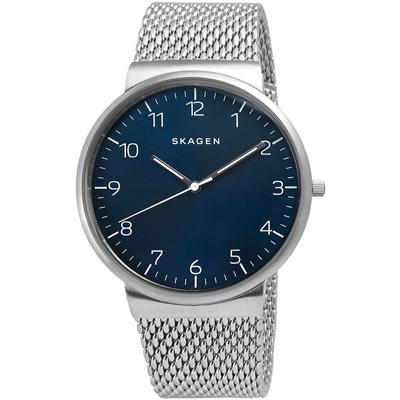 SKAGEN Ancher 商務會議輕薄米蘭編織帶腕錶-藍/40mm