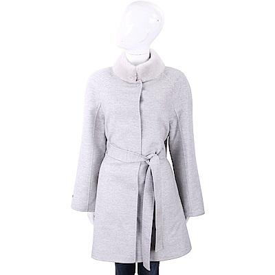 Manzoni 24 喀什米爾皮草領淺灰手工羊絨大衣