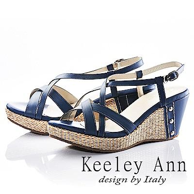 Keeley Ann 夏日俏皮~交叉環繞編織金屬飾扣全真皮楔形涼鞋(藍色)