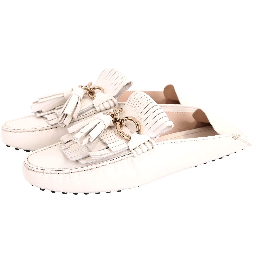 TOD'S Tassel 牛皮流蘇拖鞋式豆豆便鞋(女款/米白色)