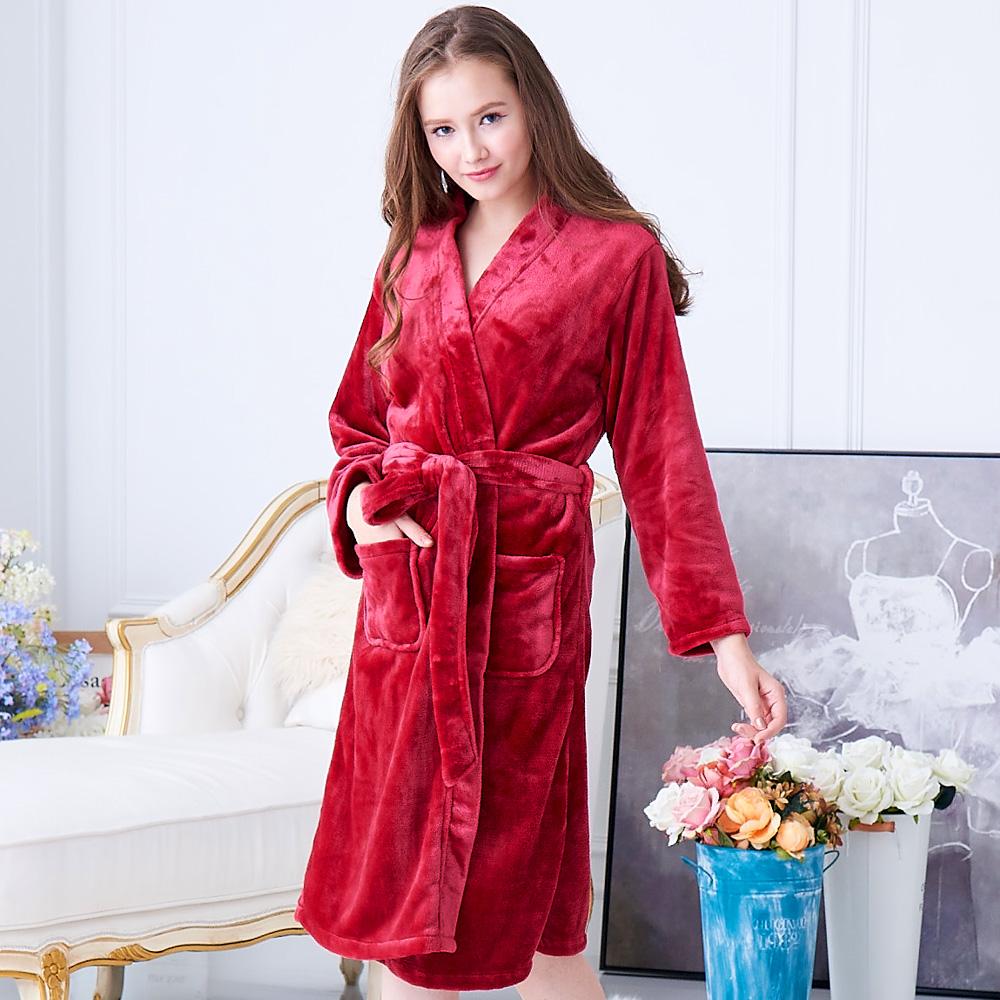 睡衣 極暖柔軟水貂絨女性長袖睡袍(29242)酒紅色-蕾妮塔塔