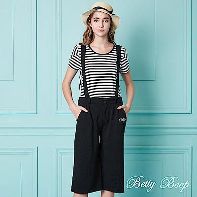Betty Boop貝蒂 燙鑽吊帶鬆緊寬口褲(黑)