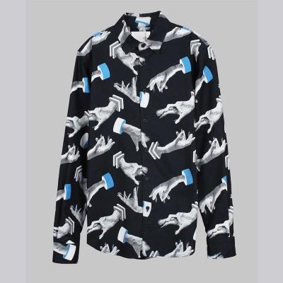 摩達客-韓國進口EXO合作設計品牌DBSW Hand Drops手掉了黑色時尚純棉襯衫