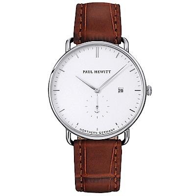 PAUL HEWITT AtlanticLine船錨風尚真皮手錶-白X銀框/42mm