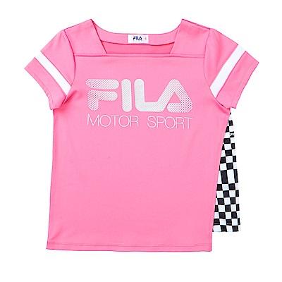 FILA KIDS 女童吸濕排汗上衣-桃紅 5TES-4443-PC