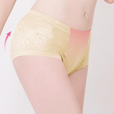 可蘭霓Clany 中腰無痕透氣緹花M-2XL一分提臀褲 初暮黃