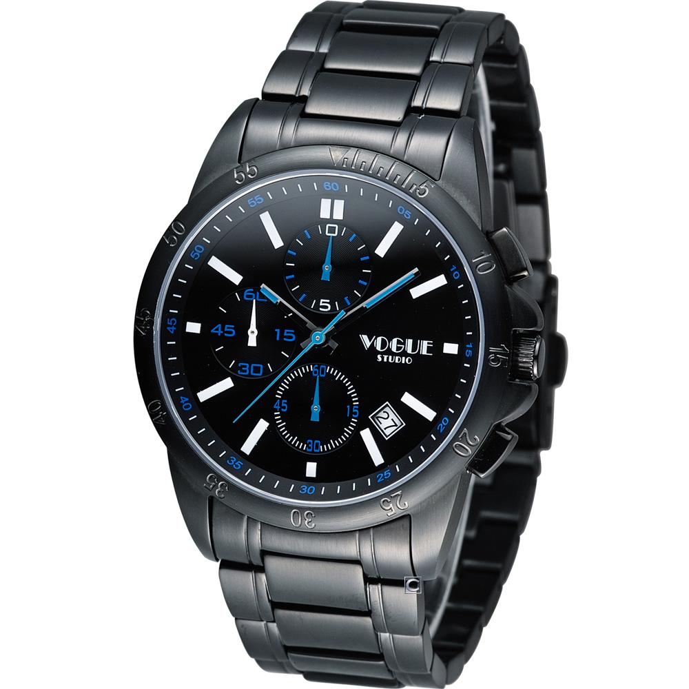 VOGUE 黎明之戰計時時尚腕錶-IP黑x白時標/40mm