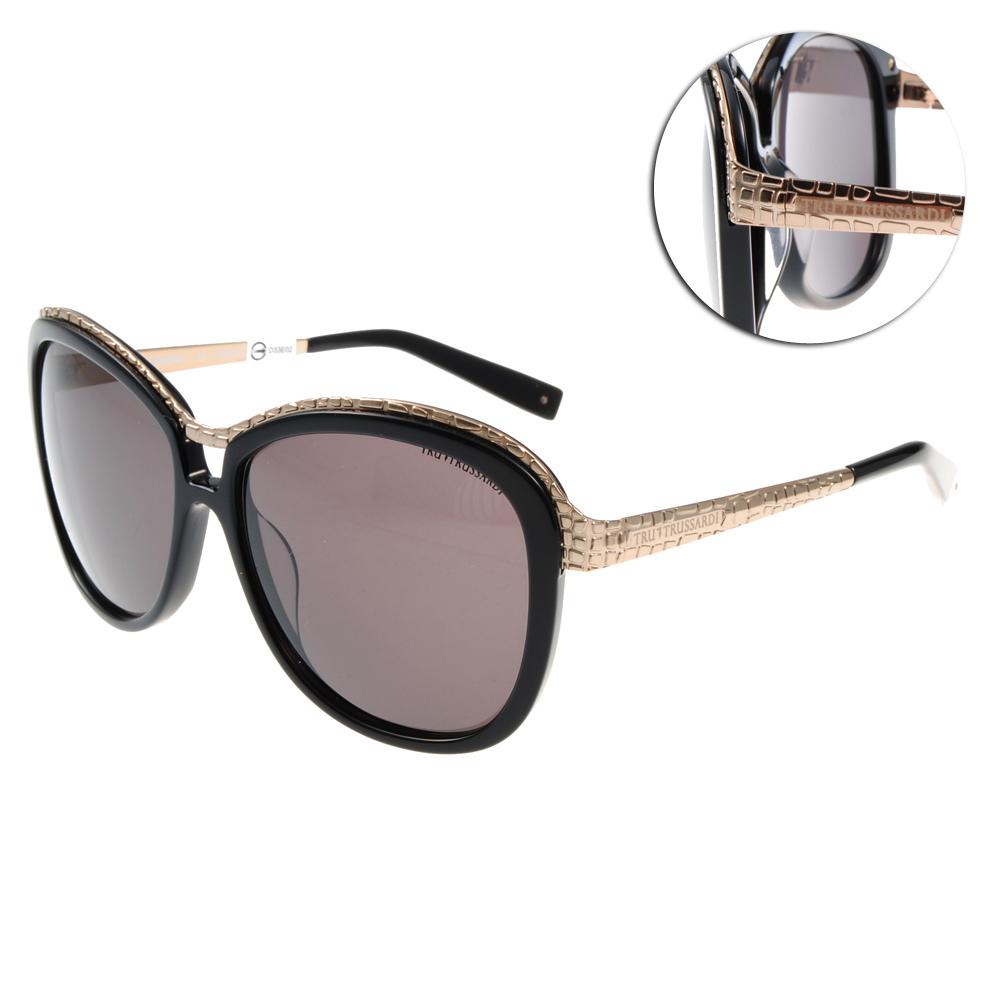 TRUSSARDI太陽眼鏡 時尚大框#黑TR12807 BK