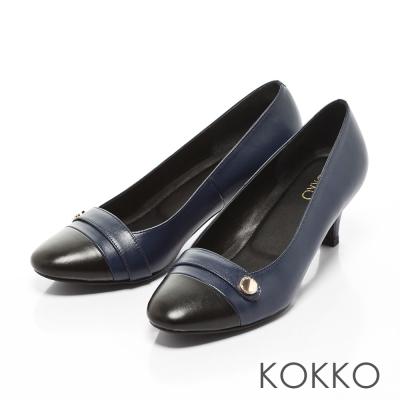 KOKKO-女紳時髦方頭真皮拼接圓扣高跟鞋-黑X藍