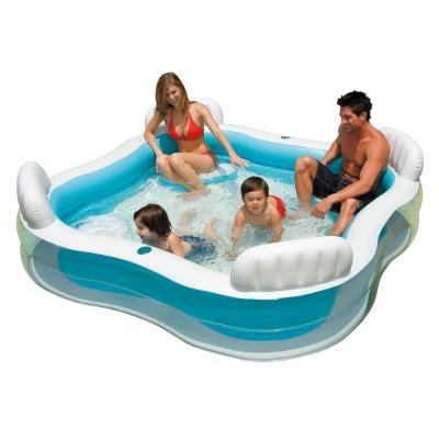 INTEX 方型有靠墊透明戲水游泳池 (56475)