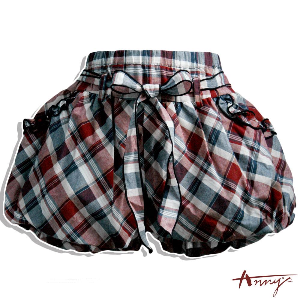 Annys休閒格紋學院燈籠短褲*6370藍