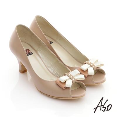 A.S.O 軟芯系列 全真皮立體水鑽蝴蝶結魚口鞋 卡其