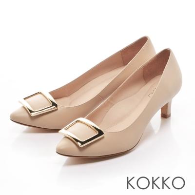 KOKKO- 優雅金屬方扣尖頭真皮高跟鞋 - 杏裸膚