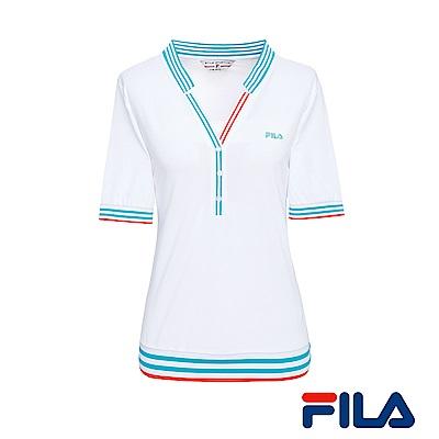 FILA女性小領線條T恤(純淨白)5TER-1436-WT