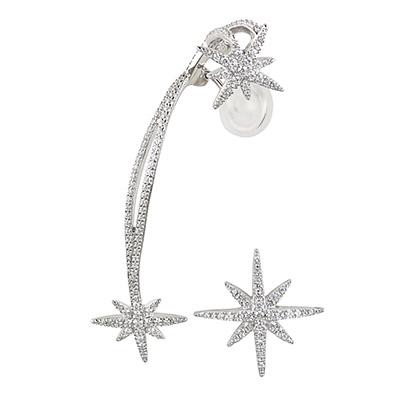 apm MONACO METEORITES系列晶鑽鑲飾流星設計純銀耳骨夾耳環(銀)