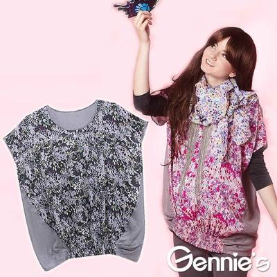 四季皆宜【Gennie's奇妮】復古葉葉情懷孕婦上衣-紅/紫(G3234)