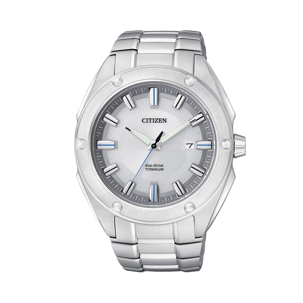 CITIZEN ECO-Drive 超級鈦金屬大三針腕錶(BM7130-58A)-銀/43mm