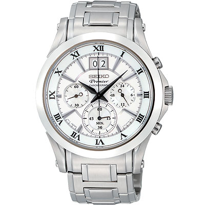 SEIKO Premier 大日期視窗計時腕錶(SPC063J1)-41mm