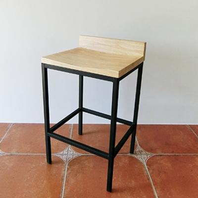 Amos-工業風低背實木高腳吧檯椅