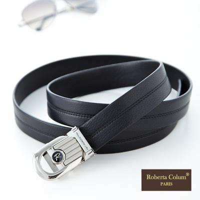 Roberta Colum - 紳士自動金屬滑扣黑牛皮皮帶