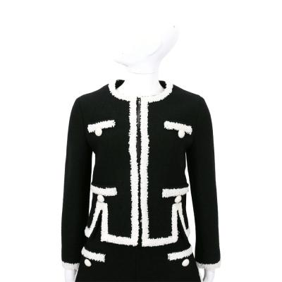 BOUTIQUE MOSCHINO 黑色皺褶蕾絲羊毛長袖外套