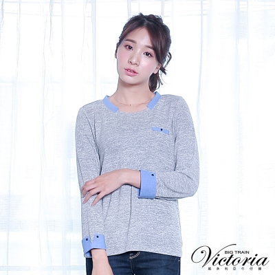 Victoria 異材質拼接九分袖T-女-麻灰