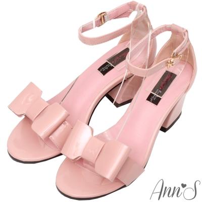 Ann'S魔鏡夢遊-立體蝴蝶結漆皮繫踝粗跟涼鞋-粉