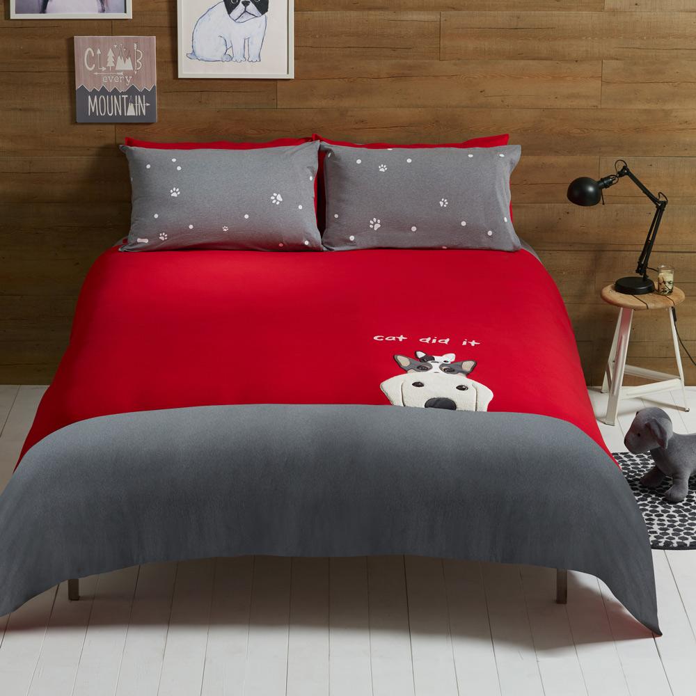 Yvonne Collection搗蛋狗條紋雙人四件式被套床包組-紅