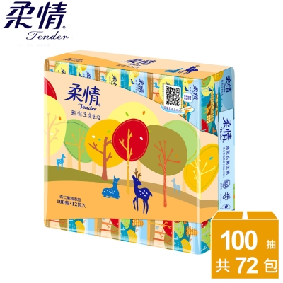 柔情抽取衛生紙100抽 x72包/箱-杏仁果油添加